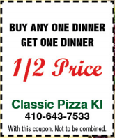 buy any one dinner get one dinner 1/2 price