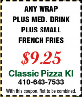 any wrap, medium drink, small french fries 9.25